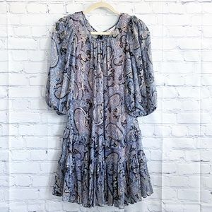 🆕 Rebecca Taylor Slene Paisley Ruffle Mini Dress
